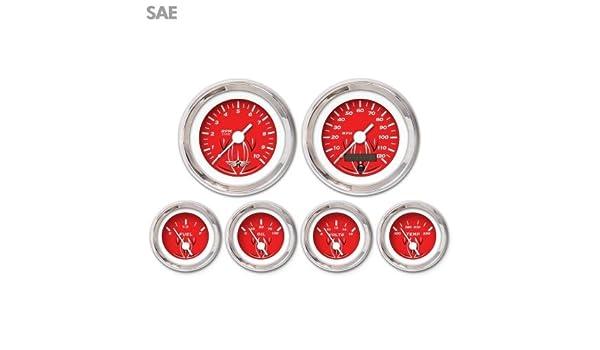 Aurora Instruments 4418 Pinstripe Red SAE 6-Gauge Set with Emblem White Vintage Needles, Chrome Trim Rings, Style Kit DIY Install