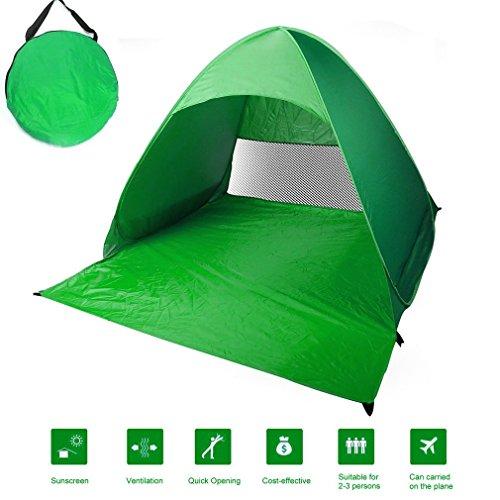 Poncherish Strandzelt, Pop-up,Outdoor Beach Tent Portable Wurfzelt,Leicht Automatik Strandmuschel mit Boden Sonnenschutz UV-Schutz, für Familien Aktivität, Outdoor, Strand(Grün)