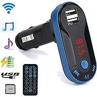 Auto Bluetooth MP3 Bewerben auf USB-Geräte und MP3-Player Kingko Bluetooth Wireless FM Transmitter MP3-Player Freisprecheinrichtung USB TF SD Remote (Blau)