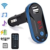Auto Bluetooth MP3 Bewerben auf USB-Geräte und MP3-Player Kingko Bluetooth Wireless FM Transmitter MP3-Player Freisprecheinrichtung USB TF SD Remote (Blau)