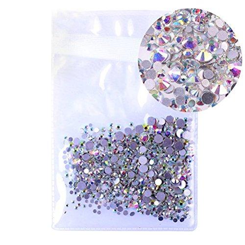 rosenice 1440 pc Flatback strass rond gemmes cristal 4,8 mm Nail Art strass pour la décoration des ongles Housse
