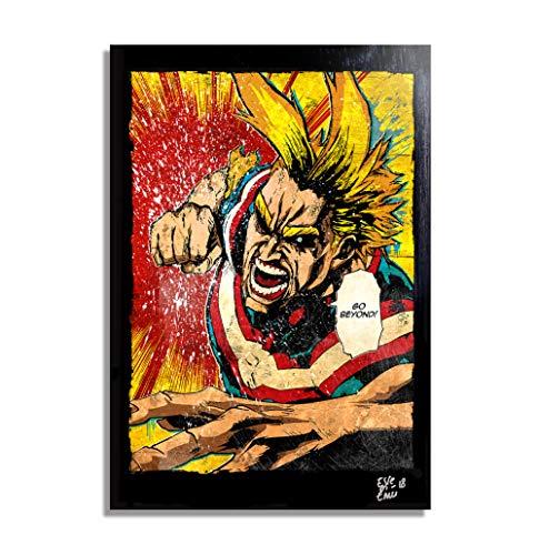 Arthole.it All Might de My Hero Academia (Boku no Hero) - Pintura Enmarcado Original, Imagen Pop-Art, Impresión Póster, Impresion en Lienzo, Cuadro, Cómics, Anime, Manga
