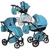 3in1 Kombi-Kinderwagen GT One | Baby 0-36 Monate | Luftreifen Komfort und Pannenfrei Garantie | Grün Blau