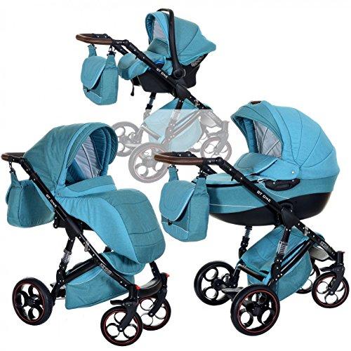 Kombi Kinderwagen 3in1 Baby 0-36 Monate Komplett Set GT one | Luftreifen Komfort Pannenfrei Garantie | Grün Blau