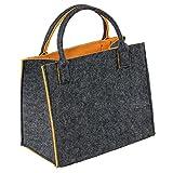 As Design by LaFiore24 - Hochwertige Filztasche Damen Filz Shopper Einkaufstasche Dirndltasche Filz Handtasche Shopper Festivalbag Aufbewahrung Mittel Gross Grau-Orange