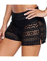 3621ca0733 OLIPHEE Shorts de Bain Uni Femme Bas de Maillot de Bain Classique Shorty  Multiusage