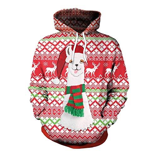 Soupliebe Damen Frohe Weihnachten Plus Size Pullover Alpaka Printed Sweatshirt Tops Bluse Kapuzen Langarmshirt Sweatjacke Kapuzenpullover Hoodie