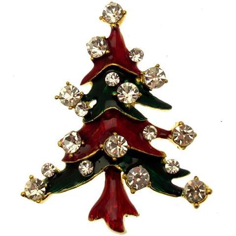 Acosta broches - diseño con texto rojo y verde esmalte - Festive broche con forma de árbol de Navidad (tono de oro) - caja de regalo
