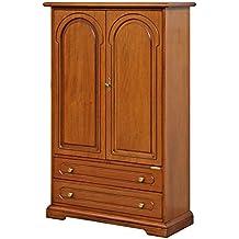Armario multiusos de madera, mueble con puertas y 2 cajones, mueble artesanal de salón