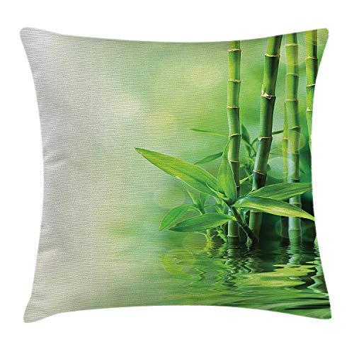 Artyly Pillowcase Tallos de bambú Reflexión sobre el Agua difumina el SPA Zen Decorativo japonés...