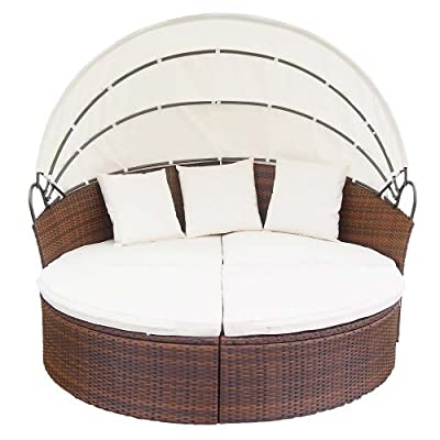 Miadomodo Rattan Sun Day Bed with Table Garden Furniture Set