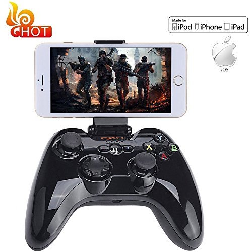 Apple MFi Certified Bluetooth Gamepad Megadream Wireless Gaming Game Handheld Controller Joystick for Apple iPhone 7 6S 6 Plus 6 5S 5 4S iPad Air 2 iPad Mini iPad Pro Apple TV iPod Touch -Black Apple MFi Certified Bluetooth Gamepad - Black