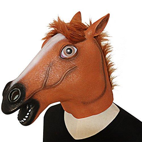 XIAO MO GU Latex Halloween-Kostüm Party Dekorationen für Erwachsene und Kids Tierkopf-Schablone Pferd