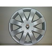 Juego de Tapacubos 4 Tapacubos Diseño New Renault Clio r 15 () Logo Cromado