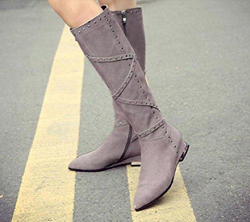 Moda sopra il ginocchio Martin stivali della donna di temperamento femminile Bootie scrub pelle bassa tacchi lato cerniera alti , gray , 37 GRAY-37