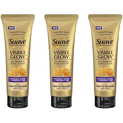 Lot of 3 Suave Professionals Visible Glow Self-Tanning Body Lotion,