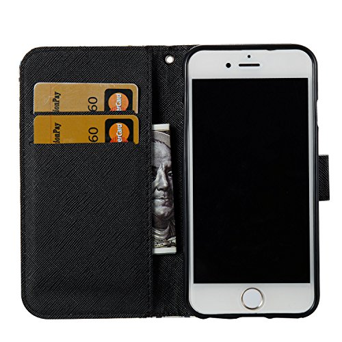 iPhone 6S Plus Hülle,iPhone 6 Plus Hülle,iPhone 6 Plus/6S Plus Ledertasche Handyhülle Brieftasche im BookStyle,Saincat Kreative Karikatur Muster PU Leder Hülle Wallet Case Folio Schutzhülle Scratch Bu Pfau Blume