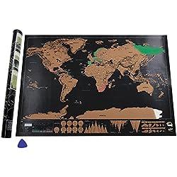 Mapa del Mundo, Deluxe Edition-negro dorado (82.5 x 59.5 cm)