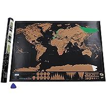 Mapa del Mundo, Migimi mapa scratch Deluxe Edition-negro dorado, Ideal Personalizado Diario Iniciar Sesión Regalo(82.5 x 59.5 cm)