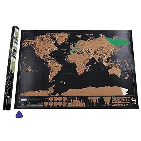 Weltkarte zum Rubbeln,Migimi Weltkarte leinwand Personalisiertes Poster um Reisen zu verfolgen - Zeigen Sie Ihre Abenteuer (82.5 x 59.5 cm)