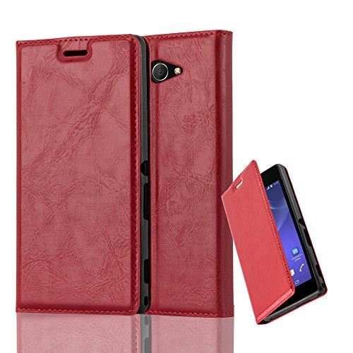 Cadorabo Hülle für Sony Xperia M2 - Hülle in Apfel ROT – Handyhülle mit Magnetverschluss, Standfunktion und Kartenfach - Case Cover Schutzhülle Etui Tasche Book Klapp Style