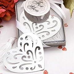 Idea Regalo - takestop® SEGNALIBRO SEGNALIBRI Cuore con Nappa Bianca in Scatola SEGNAPOSTO SEGNA Posto Metallo BOMBONIERA Matrimonio PROMESSA Wedding
