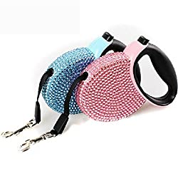 Generic Blue, 3m : 3m Pet Dog Lead Traction Rope 2 Colors Luxury Diamond Automatic Retractable Dog Leash Dog Accessories Dog Belt ENA038