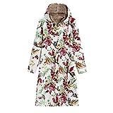 IMJONO Womens Winter Warm Outwear Floral Print Hooded Pockets Vintage Oversize Coats (Medium,Weiß)