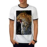 Léopard Photo Sauvage Animal Furieux Chat Sur Arbre Homme L T-shirt à sonnerie | Wellcoda