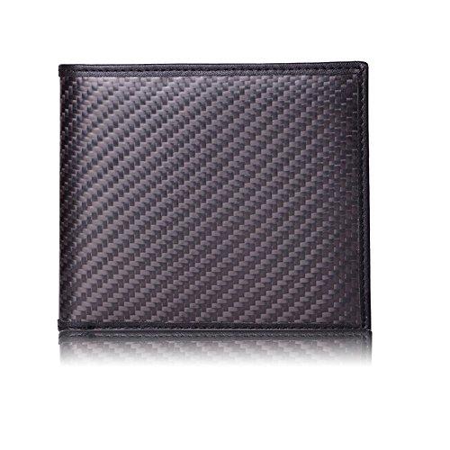 Cartera de Piel Auténtica y Fibra de Carbono Real para Hombre | Bloqueo RFID |