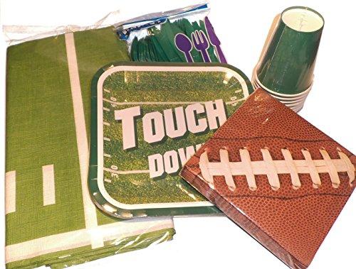 Fußball-Spiel Party Supplies - Touchdown-Teller, Fußball-Servietten, Kunststoff, Silberwaren, Becher und Papier Fußballfeld-Tischdecke (Nfl Party Supplies)
