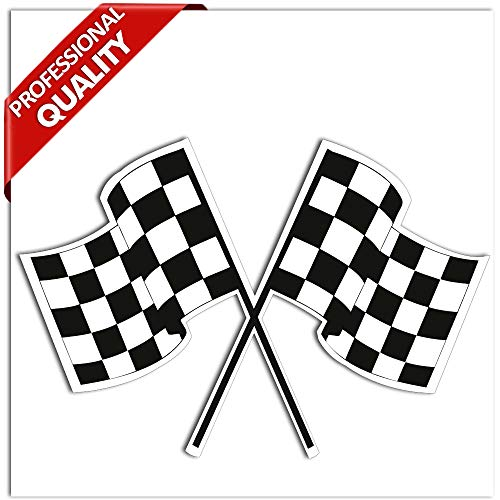 SkinoEu® 2 x Vinyl Aufkleber Autoaufkleber Rallye-Aufkleber Karierte Rennflagge im Schwarzweiss-Laufen Racing Rallye Auto Moto Motorrad Fahrrad Fenster Tür Tuning B 14