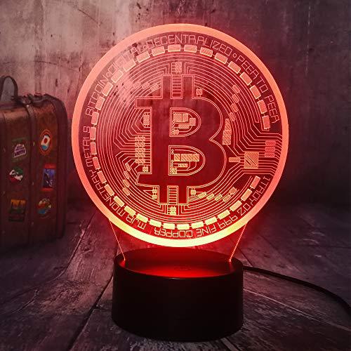 Neuheit Bitcoin Nachtlicht 3D Led Usb Tisch Schreibtischlampe Wohnkultur Weihnachtsgeschenk Display Birne Junge Spielzeug Geburtstagsgeschenk 3D Nachtlicht