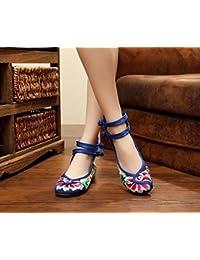 Frühling, Sommer und elegante kleine Pisten mit der Chinesischen Wind dicken bequemen bestickte Schuhe, schwarz, 35