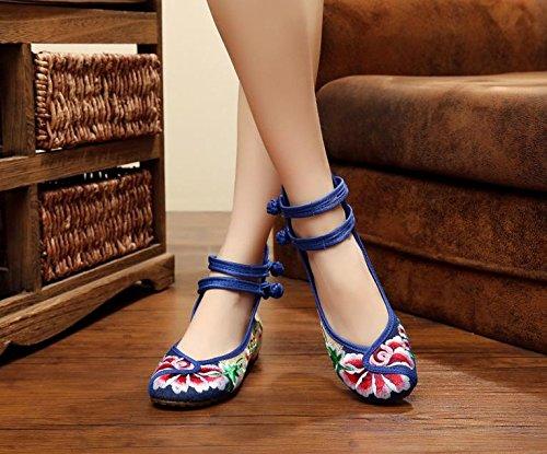 Zll Sapatos Finos Bordados, Longa Único, Estilo Étnico, Moda Feminina, Conveniente, Dançando Sapatos Amarelos