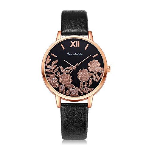 Lazzgirl Luxuxmode-Leder-Band-analoge Quarz-runde Armbanduhr-Uhren(Mehrfarbig)