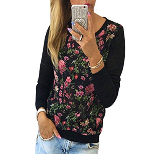 WanYang Damen Langarm Shirts Einfarbig Blumen Druck Bluse Casual T-Shirt Oberteil Tops Bluse Sweatshirt Pullover Schwarz