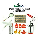 Trackindia Combo Of Stainless Steel Kitchen Press With 9 Kitchen Tools ( Kachori Maker, Samosa Maker, Gujiya Maker, 2 Ladoo Maker, Modak Makers, Pestry Cuttee, Stainless Steel Menduwada Maker & Fry Strainer )