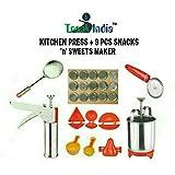 Trackindia Combo Of Stainless Steel Kitchen Press With 9 Kitchen Tools ( Kachori Maker, Samosa Maker, Gujiya Maker, 2 Ladoo Maker, Modak Makers, Pestry Cuttee, Stainless Steel Menduwada Maker & Fry Strainer )