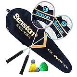 Senston Paire de 2 Raquettes de Badminton et 2 LED Volants, Sac de Transport - Inclus...