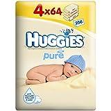 Huggies Lingettes bébé Pure (64 par paquet x 4) - Paquet de 2