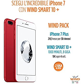 Apple iPhone 7 Plus Smartphone, 128 GB, Red (Anticipo) + SIM Wind ricaricabile con offerta Wind Smart 10 + Wind Pack