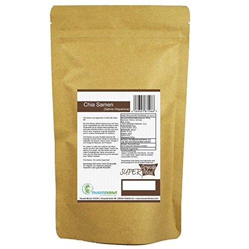 Chia Samen BIO (200g) Superfood [Salvia Hispanica – Premium Qualität – getrocknet und unbehandelt aus nachhaltigem Anbau in Argentien] Tausendkraut