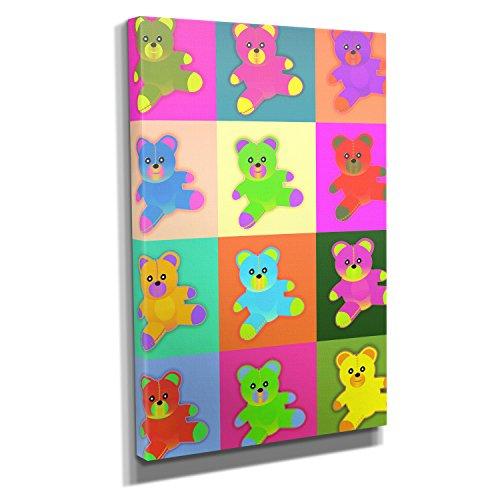 Neon Teddy - Kunstdruck auf Leinwand (50x75 cm) zum Verschönern Ihrer Wohnung. Verschiedene Formate auf Echtholzrahmen. Höchste Qualität.