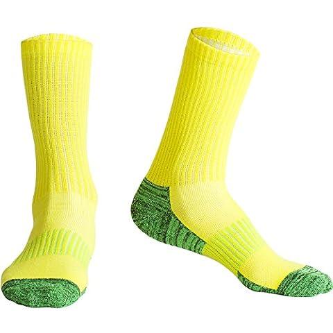 Fracer Chaussettes de course à pied Cushion Crew 4saisons pour femme moyen Jaune/vert
