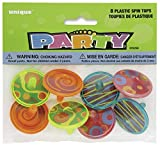 Unique Party 86258 - Plastic Spinning Top Party Bag Fillers, Pack of 8