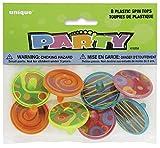 Unique Party - 86258 - Paquet de 8 Toupies en Plastique pour Pochettes - Cadeau...