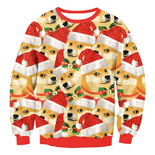 Unisex lustige hässliche Weihnachtsstrickjacke Frauen Digital 3D Print Frech Pullover (10 Hund, L)