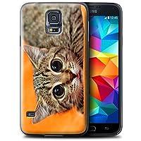 Gedruckt Schutzkoffer Schutzhüllen / Hülle für Samsung Galaxy S5 Mini / Scheues Kätzchen Muster / Lustige Tiere Kollektion