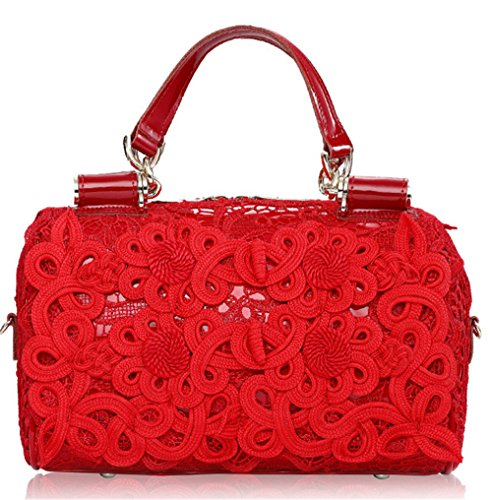 Xinmaoyuan Borse donna in pizzo spalla singolo sacchetto a cuscino vera pelle borsetta,rosso Rosso